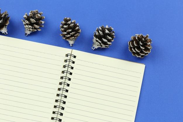 青い紙の背景に松のコーンと空の本。