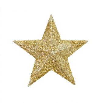 Золотой блестящий символ звезды на белом фоне.