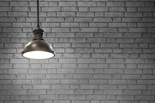 Старинные лампы в ресторане на фоне серой стены, концепция интерьера с огнями.