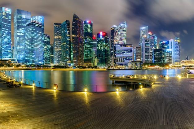 Ландшафт финансового района сингапура и делового здания