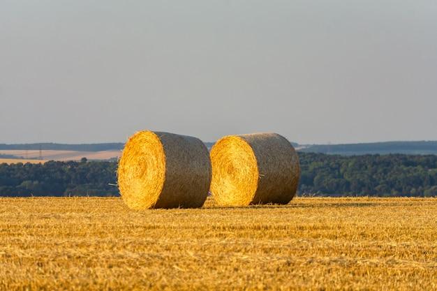 Тюков соломы сложены в поле во время заката
