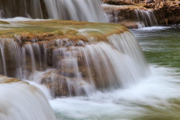 Вода течет по камням в каскаде водопад в лесу