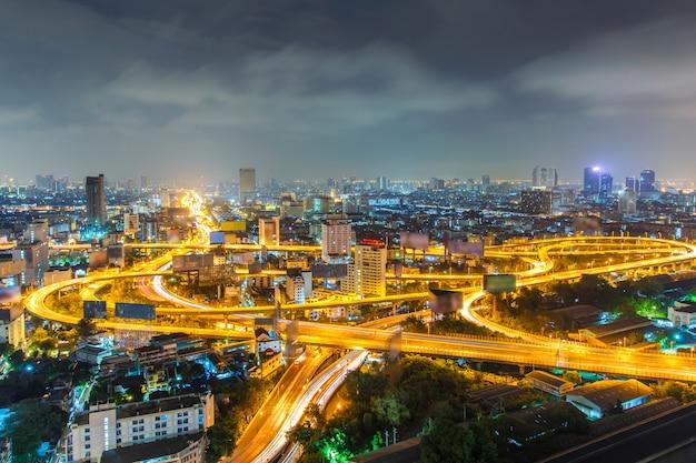 バンコク高速道路と高速道路の上面図、タイ