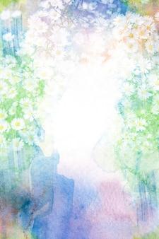 花の水彩画フレーム。