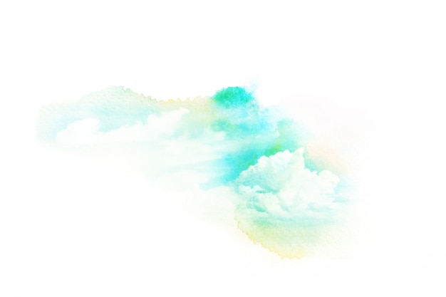 雲と空の水彩イラスト。