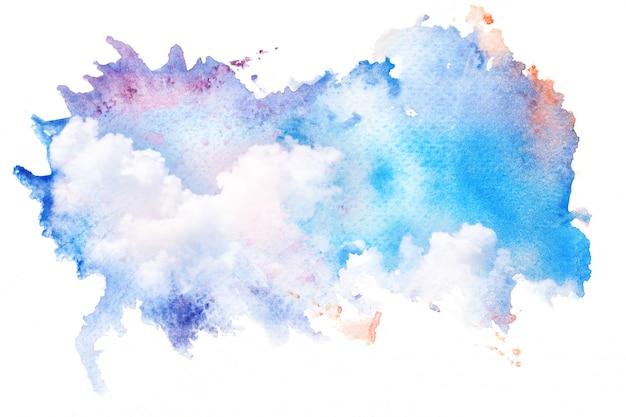 空の雲の水彩イラスト。