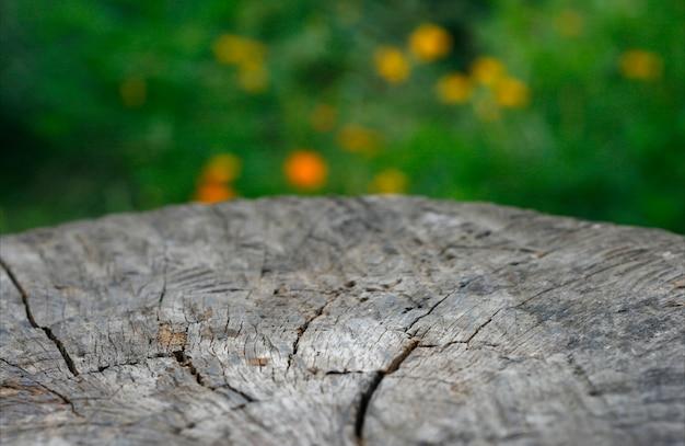 背景をぼかした写真に対して木製の国テーブルトップ
