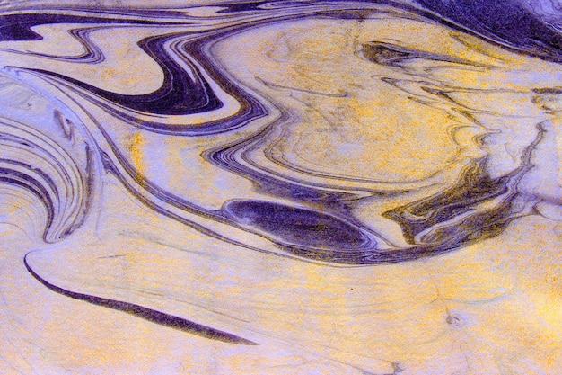 霜降りの金の大理石のインクの背景の絵