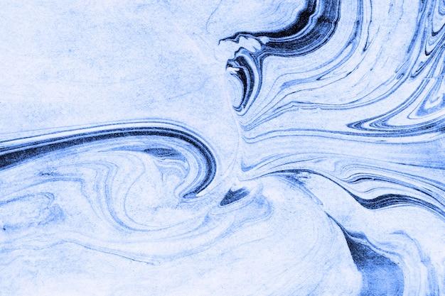大理石の青い大理石インクの背景の絵画