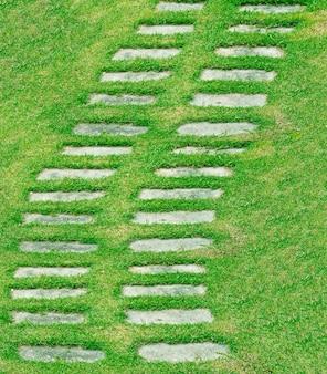 緑の芝生と公園の石の通路