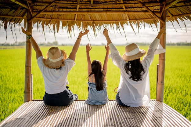 開いた手で夏の自然の夕日の女性の幸せなグループ