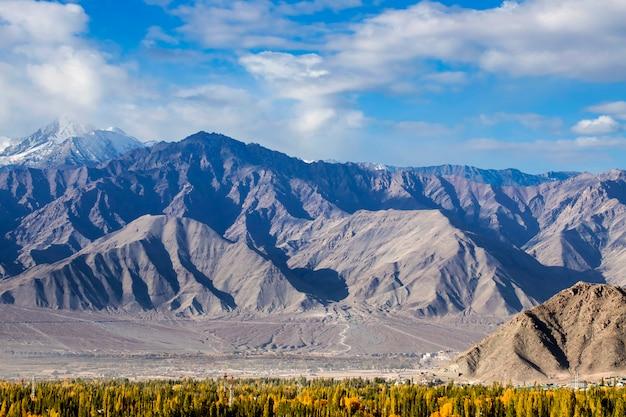 背の高い山々と青い空の風景