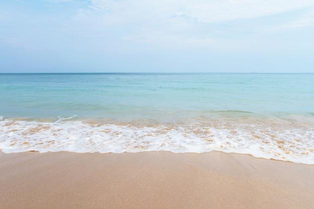 Пляж и тропика с песком и волной