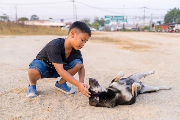 Детский мальчик играет с черными собаками на земле
