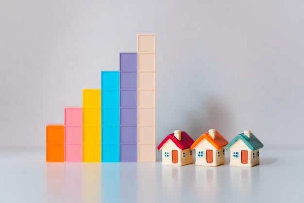 プロパティの不動産として使用して成長グラフとミニチュアカラフルな家