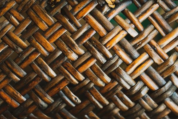 竹かごのクローズアップ木製テクスチャ
