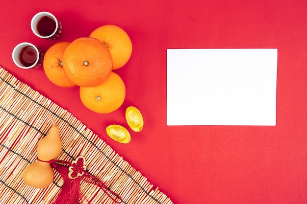 Китайский новый год фестиваль украшений здоровых и богатых оранжевый