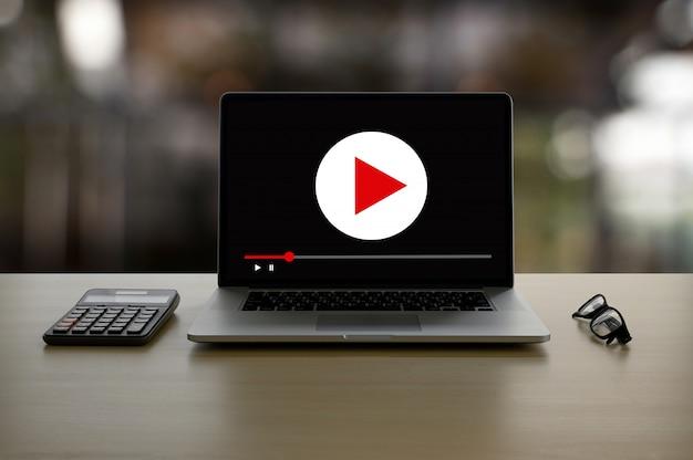 ビデオマーケティングオーディオビデオ、市場インタラクティブチャンネル、ビジネスメディア技術革新マーケティング技術コンセプト