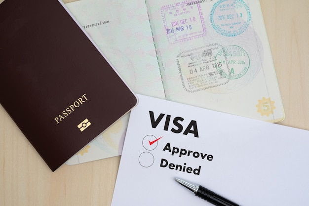 移民ビザ申請書移民届出書旅券と旅行計画のためのお金