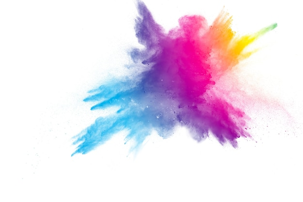 白い背景に虹色の粉末の爆発。