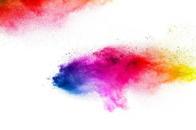 抽象的なカラフルな塵粒子は、背景をテクスチャ。多色の粒子の爆発。