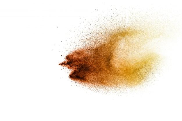 茶色の粉の動きを止める