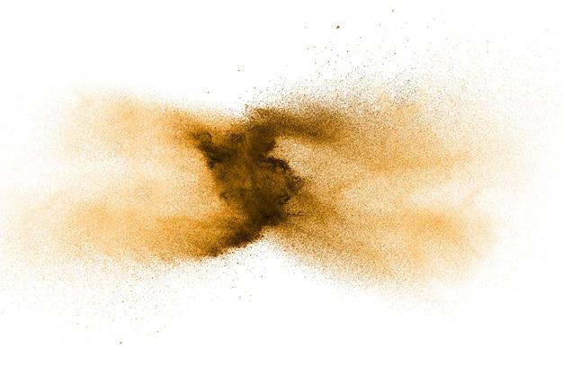 褐色粉塵爆発のフリーズモーション茶色の粉の動きを止めます。