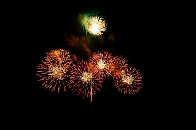 暗い夜背景にお祝いのために都市の湖に美しいカラフルな花火大会が表示されます。