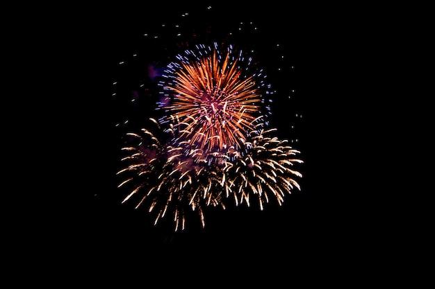 黒い夜空に対してカラフルな花火。新年のための花火。美しいカラフルな花火がお祝いのために都市の湖に表示されます。