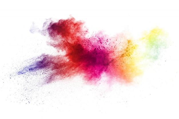 Разноцветный пороховой взрыв. абстрактные пастельные цвета пыли частицы всплеск.