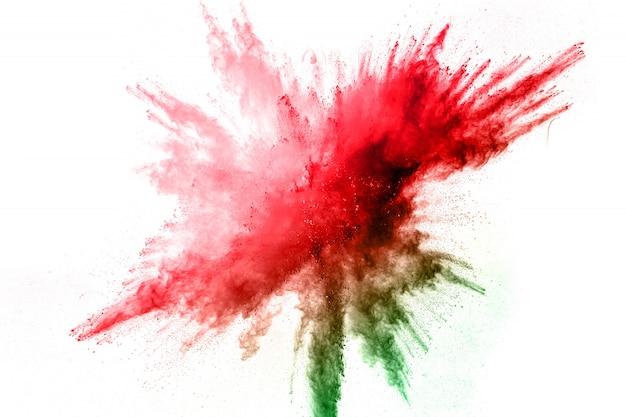 Цвет порошка взрыва. цветная пыль брызгает.