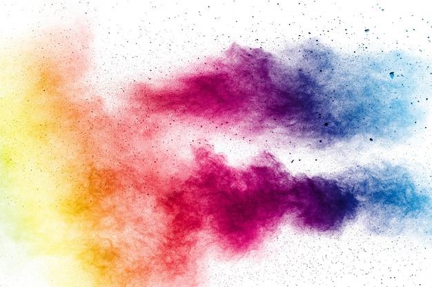 Разноцветные брызги пыли на белом