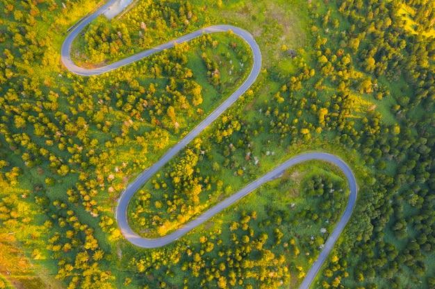 秋の山の曲がりくねった道の空撮