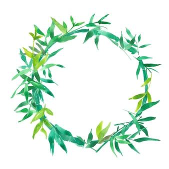 グリーン竹の葉フレーム、ナチュラルリースサークルフレーム、分離水彩イラスト