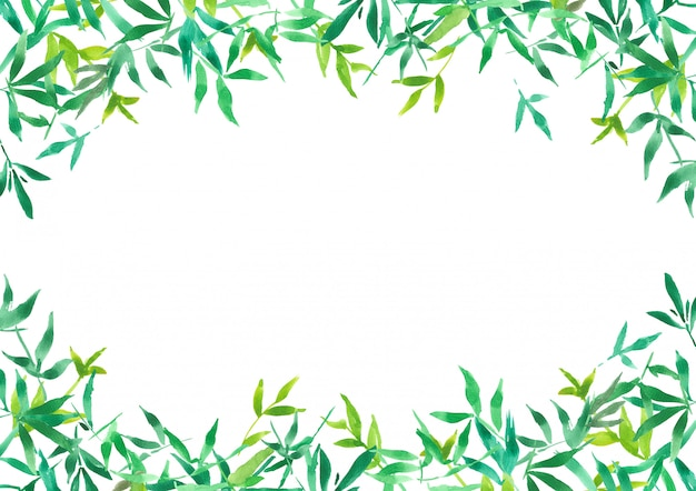 緑の竹の葉の背景、水彩画植物イラスト用フレーム