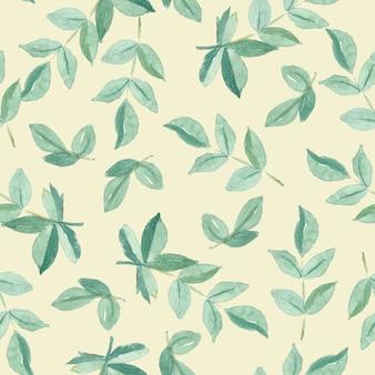 緑の葉のシームレスパターン水彩画