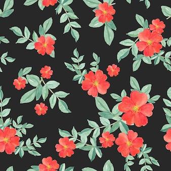 黒地に赤いバラと緑の葉のシームレスパターン水彩画