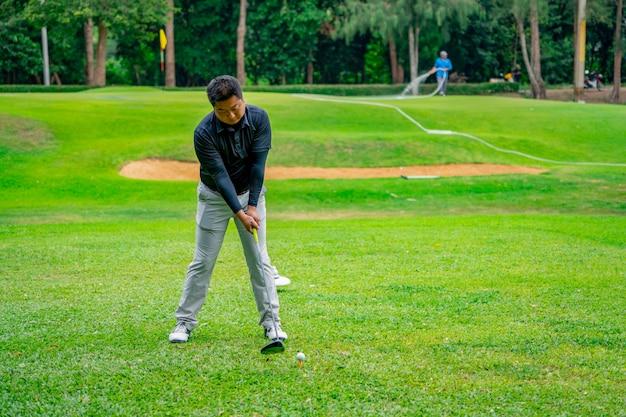 ゴルフコースのティーオフゾーンでゴルファーがゴルフボールを打つ