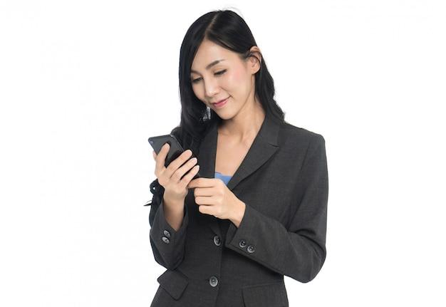 ビジネス、女、使うこと、携帯電話、白、背景