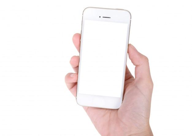 白で隔離される携帯電話を持つ女性の手