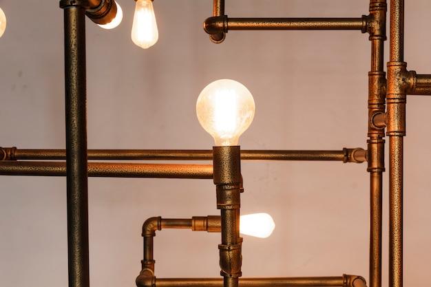 照明装飾されたレトロなデザイン。自宅で使う
