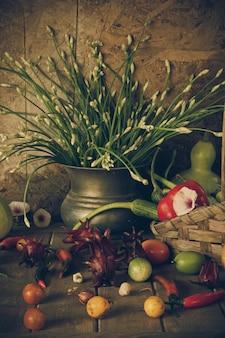野菜、ハーブ、果物。