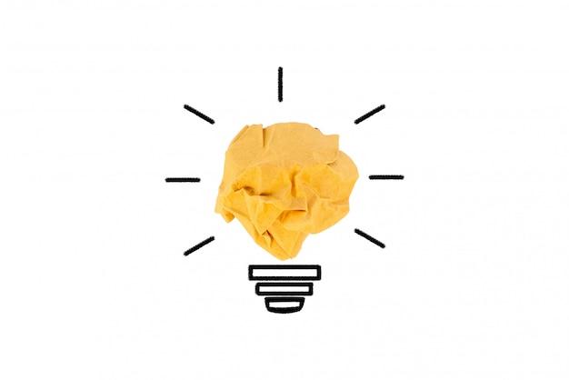Коричневый бумажный шарик, концепция творческой идеи и инновации