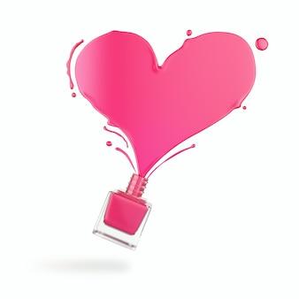 Брызги лака для ногтей в форме сердца, розовая краска.