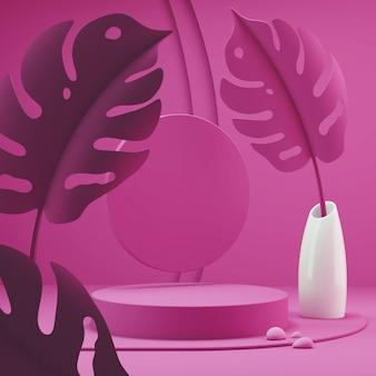 ピンク色の表彰台シーンの幾何学的な抽象的な背景シーン。