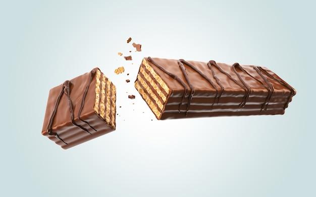 クリスピーのウェーハにコーティングされたダークチョコレート