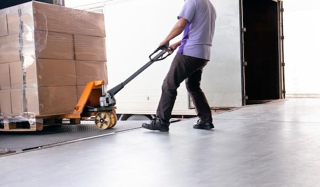 倉庫スタッフが出荷パレットとハンドパレットトラックまたは手動フォークリフトをドラッグ