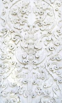 Белая тайская художественная штукатурка стены, храм
