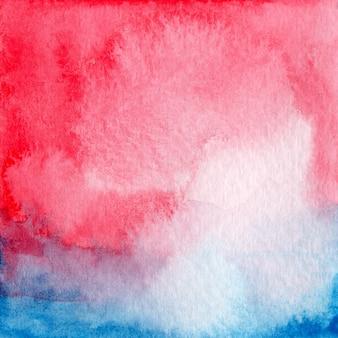赤と青の水彩画の濡れた背景。紙のテクスチャオリジナルアートワークのクローズアップ。