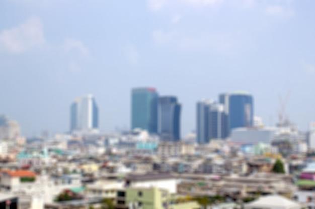 都市の高層ビルの景観環境のぼかし。背景画像。
